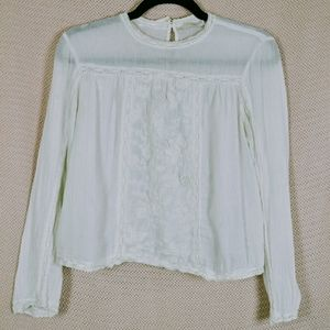 ZARA delicate linen top with embroidered front